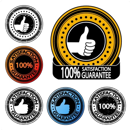 Vector thumb up satisfaction guarantee label Vector