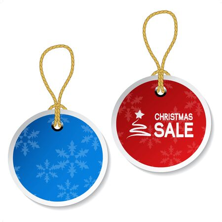 discount coupon: Vector Christmas ornament tags with snowflakes Illustration