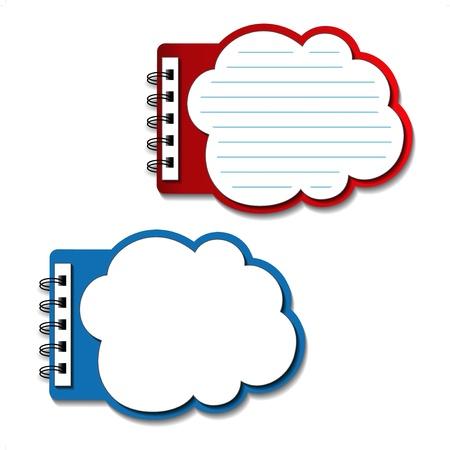 Vector en blanco cuadernos forrados - bocadillos Ilustración de vector