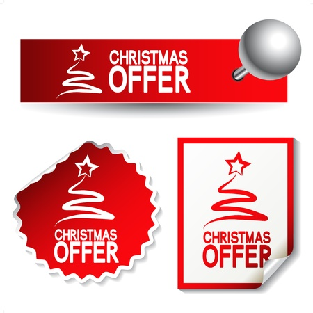 kerst markt: Vector Kerst aanbod stickers