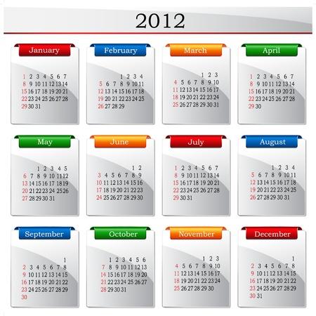 Vector calendar 2012 Vector