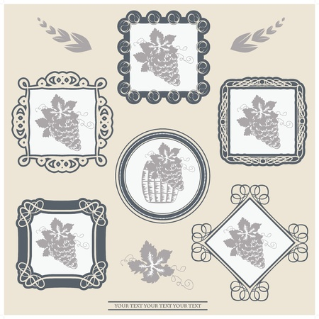 Vector wine labels with ornament frames Vector