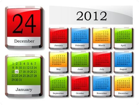 Vector glossy calendar 2012 Vector