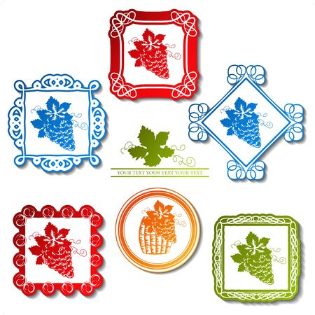 Vector wine labels with ornament frames Stock Vector - 11651850