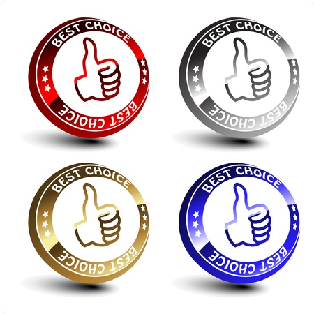 Vector best choice 3D circular buttons Vector