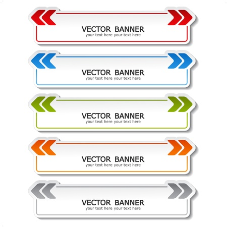 web browsing: vector set of color banners with arrows Illustration