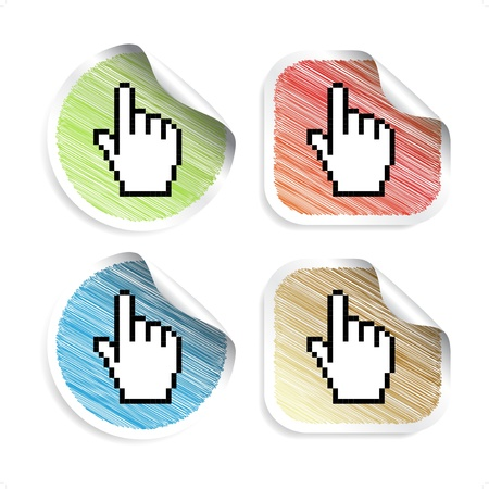Vector scratch stickers with cursor of hand Vector