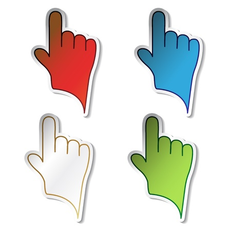 Vector stickers of hand