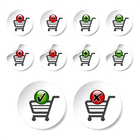delete button: Vector add delete shopping cart item Illustration