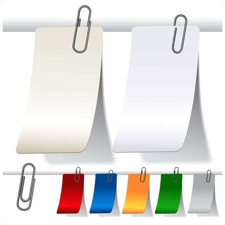 Vector blank curled labels with paperclips Vector