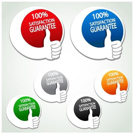 Vector tevredenheidsgarantie etiketten met de hand gebaar