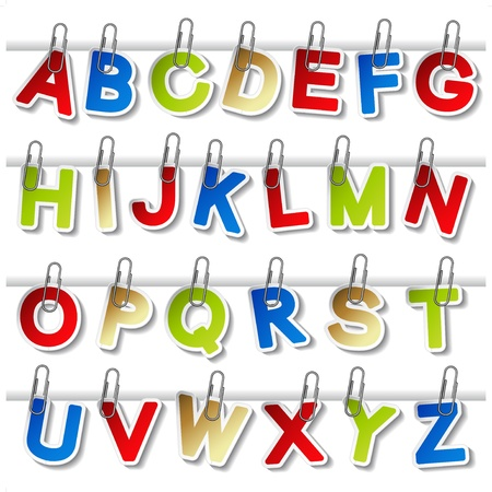 briefing: Vector stickers of alphabet with paperclip - own font