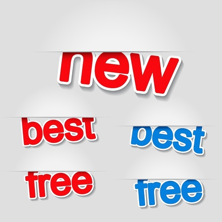 Vector fixed labels - new, best, free Illustration