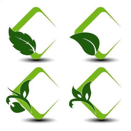 Vector símbolos naturales con la hoja de Ilustración de vector