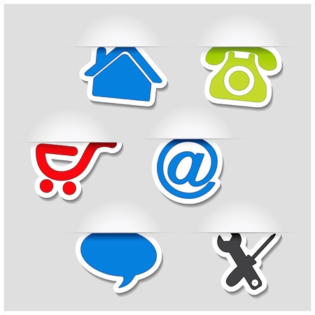 home products: Vector navigation symbols - web template Illustration