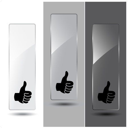 info business: Vector glass banners for advertising text Illustration