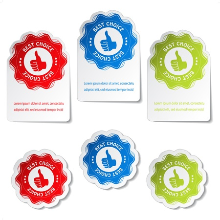Vector best choice stickers with gesture hand Vector