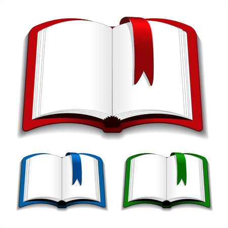 note books: Vector open books with bookmark