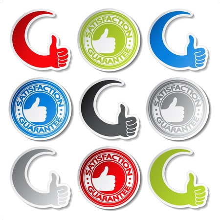 Vector satisfaction guarantee stickers - gesture hand Vector