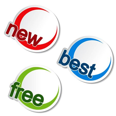Vector rounded stickers - new, best, free Stock Vector - 11651765