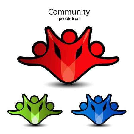 feedback sticker: Vector human symbols - community icons Illustration