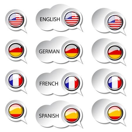 spanish flag: Vector language pointer for web - speech bubbles Illustration