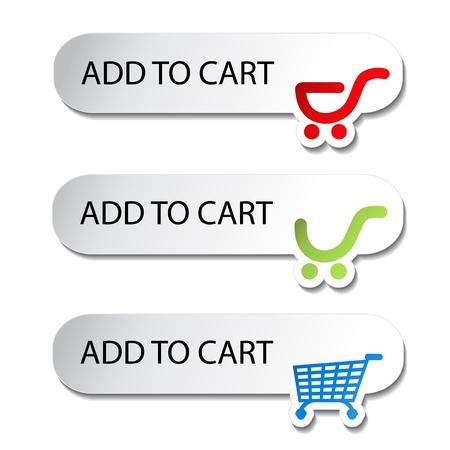 Vector Winkelwagen item - knoppen toevoegen Stock Illustratie