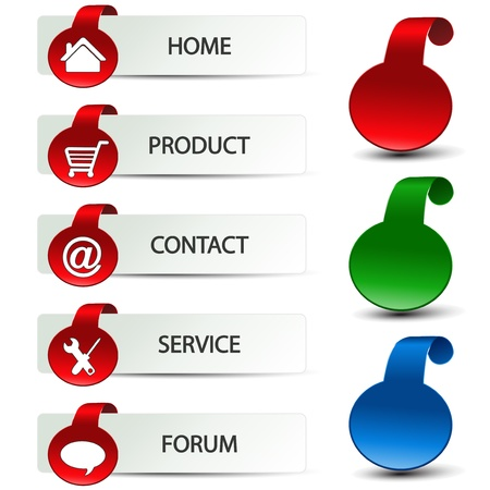 chat button: Vector web navigation - menu template