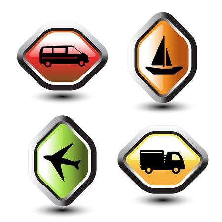 air traffic: Vector conjunto de indicadores de transporte - coche, barco, avi�n Vectores
