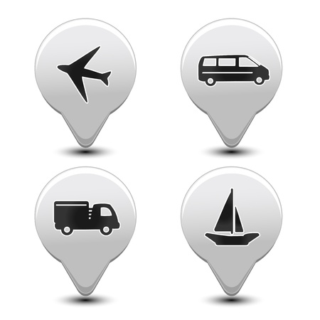 Vector set of transport pointers - car, ship, plane Illustration