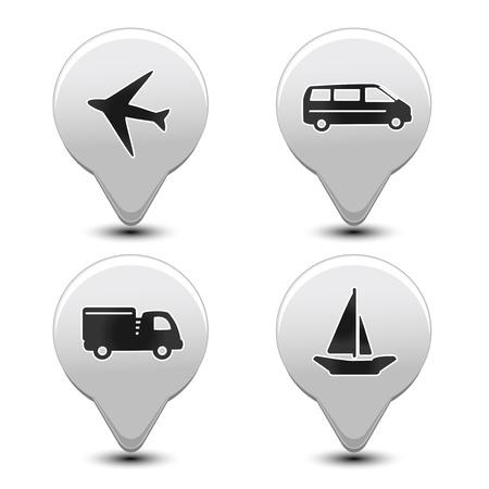 Vector set van vervoer pointers - auto, schip, vliegtuig