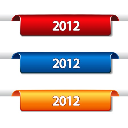 Vector 2012 Labels - bended tape on the web page Vector