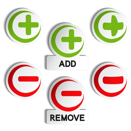 Vector add remove item - plus, minus Иллюстрация