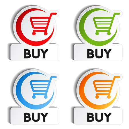 red retail: Vector shopping cart item - buy buttons