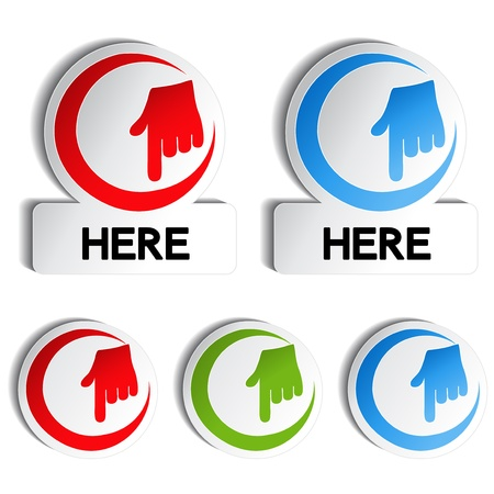 click here icon: Vector pointer rounded stickers with gesture hand Illustration