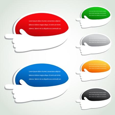 Vector aanwijzer ovale stickers met de hand gebaar Stock Illustratie