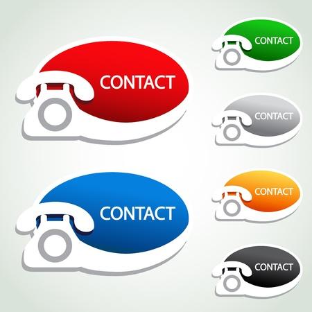 telecomunicaci�n: Pegatinas vectoriales de tel�fono de contacto: iconos