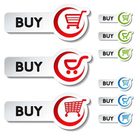Vector shopping cart item - buy button Illustration