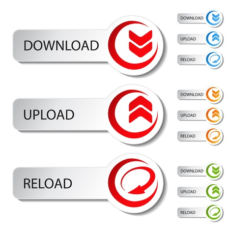 vector button: Vector button - download, reload, upload