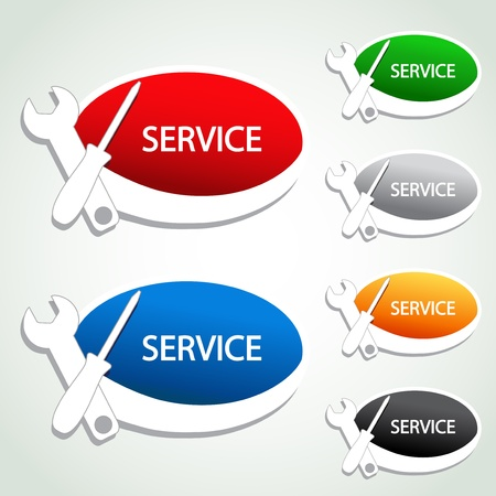 Vector service menu item - oval sticker Stock Illustratie