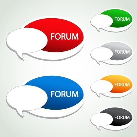 sticker vector: Vector forum menu item - oval sticker