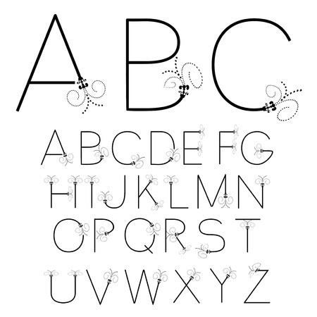 Vector black and white font alphabet - created of own font