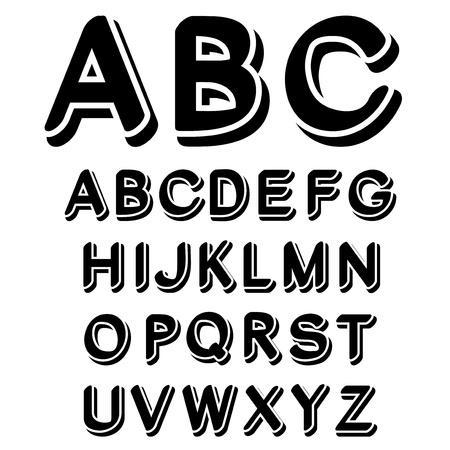 Vector zwart-wit lettertype alfabet - gemaakt van eigen lettertype