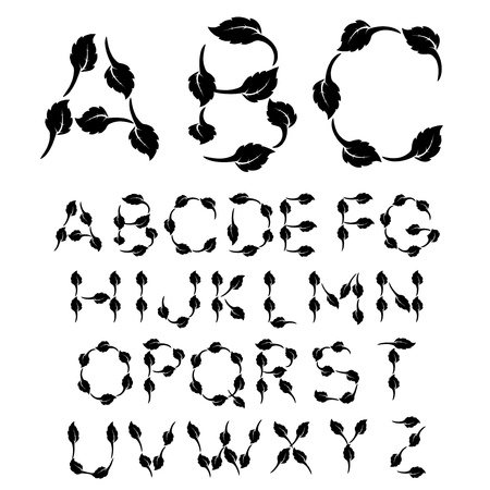 sentence typescript: Vector black and white font alphabet - created of own font