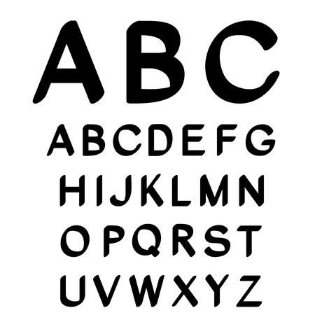 upper school: Vector black and white font alphabet - created of own font