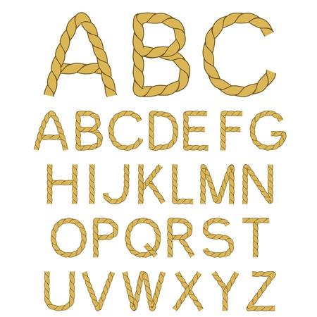 font alphabet: Vector rope font alphabet - created of own font Illustration