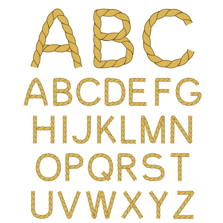 Vector rope font alphabet - created of own font Ilustracja