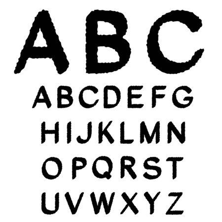 sentence typescript: Vector black and white font alphabet Illustration