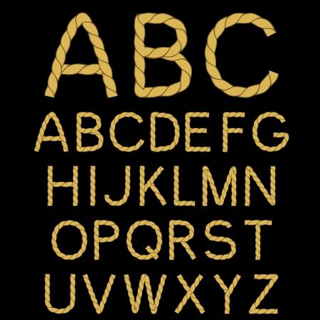 sentence typescript: Vector rope font alphabet