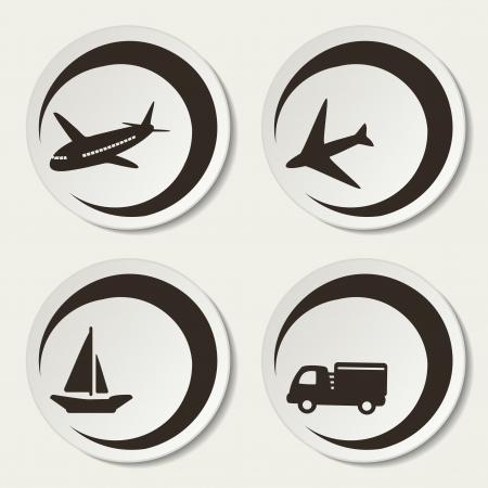 airplane icon: Vector shipping symbols - car, ship, plane